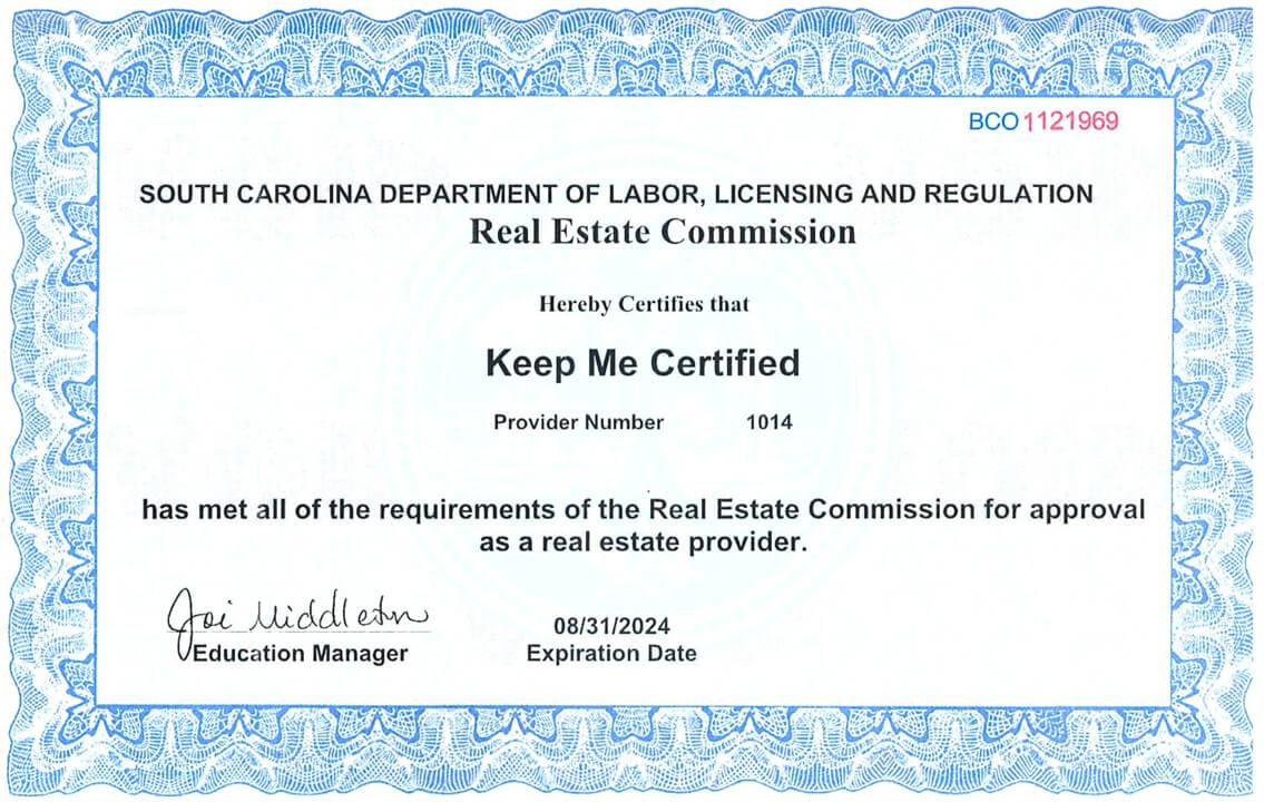 Keep Me Certified South Carolina